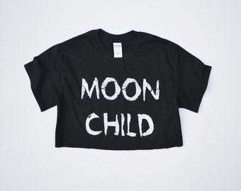 Pastel Goth Moon Child Black Crop Top Hipster Indie Swag Dope Hype Mens Womens Kawaii Crescent Moon Gothic
