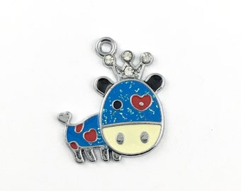 1 dog charm antique silver and enamel, 27mm # CH 244
