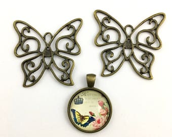3 butterfly charms and glass pendant bronze tone,36mm to 50mm #CH 466