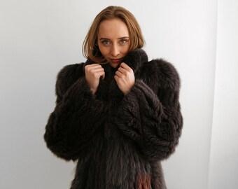 Glamourous Black Fur Coat,  Authentic Soft Fur Swing Coat  60's  / Size  Medium