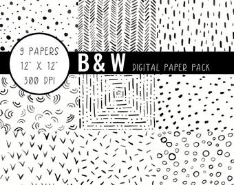 Black and White Digital Paper, Black and White Scrapbook Paper, Black and White Paper to Print, Digital Paper