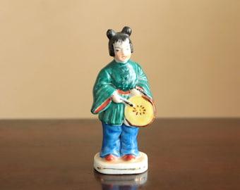 Vintage Chinese ceramic figurine with round music instrument / Asian figurine porcelain decor