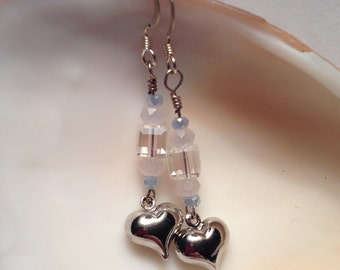 Dangle Silver Heart Earrings with Pastel Accents