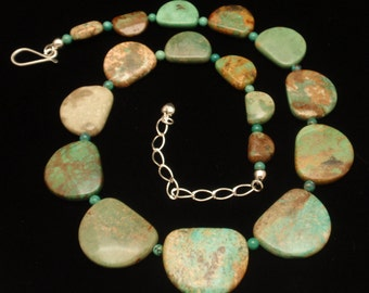 Turquoise Nuggets Necklace Sterling Silver Clasp