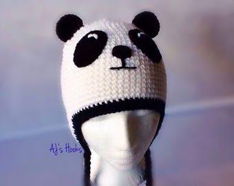 Panda Hat. Hand Crochet Panda Hat for Adults.