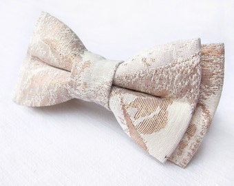 Rose gold bow tie. Brocade bow tie textured. Pre tied groom's bow tie wedding gift for him best man groomsmen Luxury bow tie