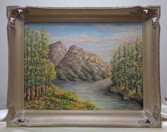 Signed & Framed Armenian Giragos Der Garabedian Landscape Oil Painting on Panel