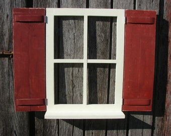 "Window with hinged shutters and shelf,   31-1/2"""" wide 24-1/2"" high"