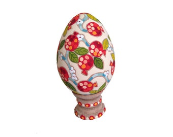 Easter Egg Pomegranate, Easter ornaments, hand pained wooden egg, Armenian gifts