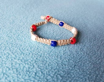 Red, White, and Blue Macrame Bracelet - Handmade Accessories for Women and Children - AutumnsItems