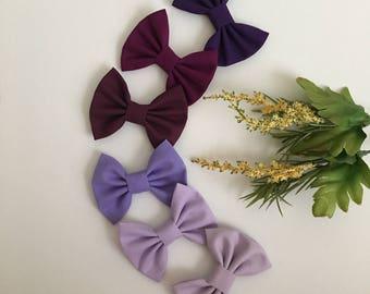 Baby girl bows, baby/toddler/kids hair accessories, baby/toddler/kids headband, baby/toddler/kids hair clip, shades of purple, newborn