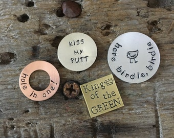 Set4 MIXED Golf Ball Markers- BEST SELLER Fathers Day, Dad's Birthday Gift, Golf-a-Holic Gift, Boss' Day, Custom Golf Accessories, Golf Gift
