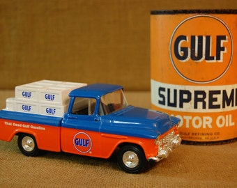 Vintage Gulf Oil Truck and vintage reproduction half Gulf Motor oil can, good Gulf Gasoline, gas and oil collectible, Petroliana