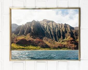 Hawaii Art / Hawaii Photography / Kauai Na Pali Coast Print / NaPali Coastline Photo / Landscape Beach Tropical Ocean Island Mountain Water
