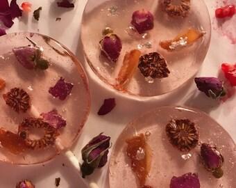 3 Raspberry Rose Lychee Lollipops