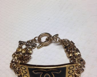 Gold tone chain royally inspired bracelet with connector Chanel handmade !