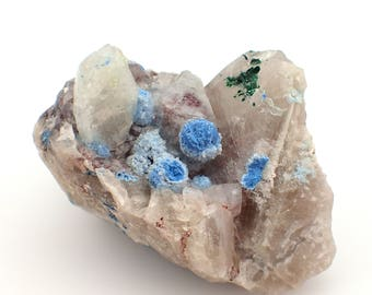 Shattuckite on Quartz with Malachite from Kaokoveld, Namm x mibia - 217gm / 80mm x 54mm x 43mm (F30606)