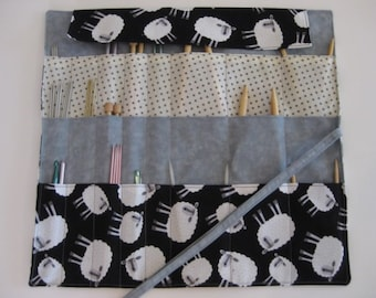 Knitting Needle Case, Knitting Needle Organizer, Circular Knitting Needle Case, Sheep Knitting Needle Case