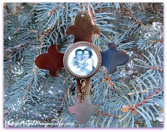 Custom Family Ornament, Parent Sympathy Gift, Family Photo Memorial, Cross Ornament, Personalized Photo Ornament, Sympathy Remembrance Gift
