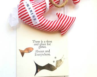 Handstamped greeting card with silver fishes, folded card with matching envelope