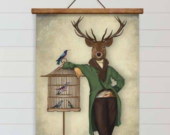 canvas art poster Large Wall art Large animal art - Deer & Bamboo Cage deer art decor Deer print art Deer canvas art Deer decor Deer canvas