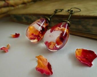 Rose petals earrings vintage resin pressed flowers unique romantic