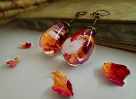 Rose petals earrings vintage resin pressed flowers unique romantic