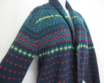Lands End Cardigan Boyfriend Sweater Lands End Shawl Collar Cardigan Slouchy Sweater 1980s