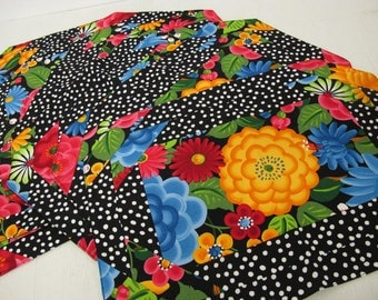 Floral Placemats Cotton Summer Placemats Mexican Placemats Set of 6 1980s Placemats