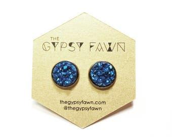 Matte Blue Large Druzy Galxy Stud Earrings