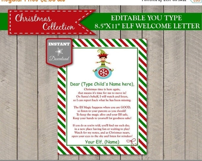 SALE Sale INSTANT DOWNLOAD Editable Elf Welcome Letter / Add Child or Children's Names & Elf's Name / You Type / Christmas Shop