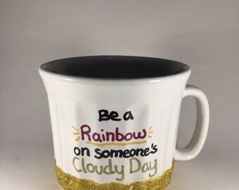 Be a rainbow on someone's cloudy day // big 20oz glitter mug // dishwasher safe!