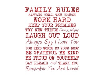 Family Rules #2 Commercial Use svg dxf ai Eps File for Cricut & Silhouette machines VV0075-B