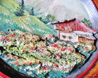 "Vint Old OIL PAINTING on Wooden Plate, Mountains, Sculptural Farmhouse, Meadow, Tiroler Werkkunst, Tyrol, 9 1/4"", Austrian"