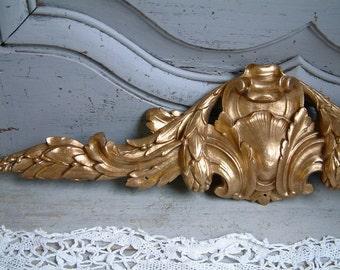 Antique french bronze furniture pediment / ornament. Louis XV style. Antique hardware. Bronze swag Architectural salvage. Nordic home decor