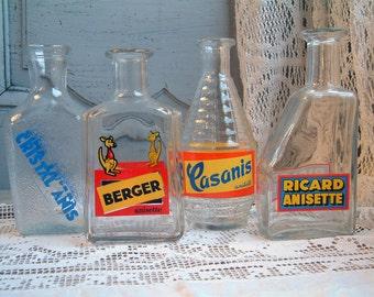 Set of 4 French vintage pastis publicity water carafes. French bistro carafe. French pastis. French liquor publicity carafes. Anis liqueur.