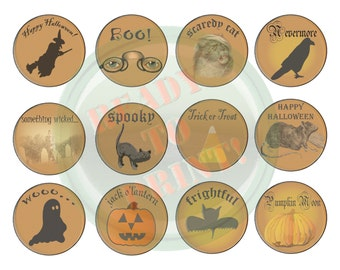 "Halloween Cupcake Toppers Printable Spooky Sheet of 12 2 1/2"" Goth Circle Labels Tags Cake Tops Bat Jack o' Lantern, Ghost, Black Cat, Raven"