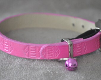 Ella Selection Pink Geometric Boarder Leather Cat Collar
