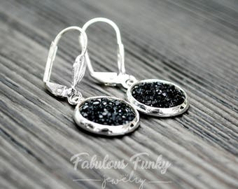 """Silver ear ringer - """"Sparkly stones"""""""