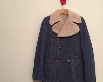 Vintage seventies sherpa jeans jacket pelouche