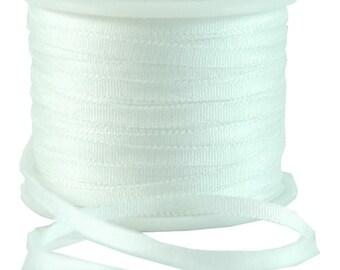 11 Yds (10 M) Embroidery Silk Ribbon 100% Silk 2mm - White - By Threadart