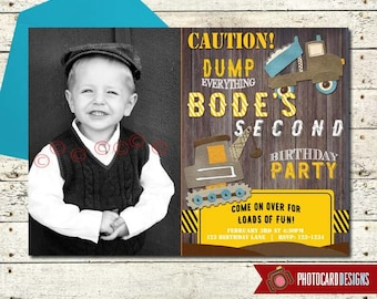Dump Truck Invitation, Construction Birthday Invitation, Truck, Dump Truck, Photo Invitation, Birthday, Card, Digital, Print file, invite