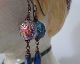 Blue and Purple Brocade Czech Glass Earrings Pretty and Unique BOHO Earrings Unusual Renaissance Earrings Hypoallergenic Niobium Ear Wires