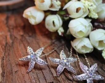 Set of 3 Rhinestone, Beach Sea Starfish, Crystal Bridal Hair Pins, Bridal Hair Pins,Wedding Hair Pins, Flower Girl Hair Pins