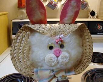 Easter Bunny Door Wreath, Easter Bunny Decoration, door decor, bunny decor, wicker Easter Bunny, vintage bunny decor, Bunny  door wreath