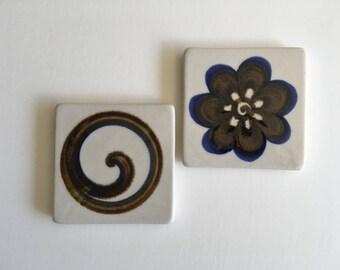 Vintage Tile Trivets, Evangel Pottery.