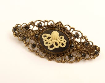 Steampunk hairclip with octopus cameo hair jewelry ocean sea black bronze hair accessory gift idea woman