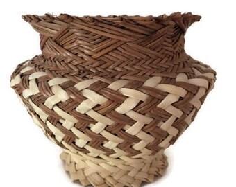 Vintage Hand Woven Tarahumara Pine Needle Basket, Made in Chihuahua Mexico