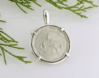 Argentina Coin Jewelry with Vintage Argentina Horse Coin in Handmade Pendant Setting