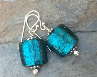 Teal Murano Glass Earrings, Square, 1.25 inches long